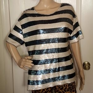 Silence + Noise UO Striped Sequin Top